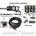 "Pachet profesional pistol pneumatic 3800 Nm +10 m furtun+mufe gigant+trusa tubulare 8 buc | Chei pneumatice, pistoale 1"" si furtune | Pistoale pneumatice 1"""