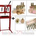 PRESA 12 TONE HIDRAULICA CU CRIC (24410) + ADAPTOARE 10 buc/Tr (24566) (H612) | Presa 12Tone, 20 Tone cu cric | Prese forta 20 t