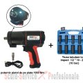 "Set cel mai puternic pistol pneumatic 1/2"" 1900 Nm material compozit + LED LI-ION (SP1900) + 10 tubulare"
